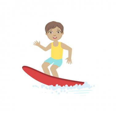 Boy Surfing On The Red Board