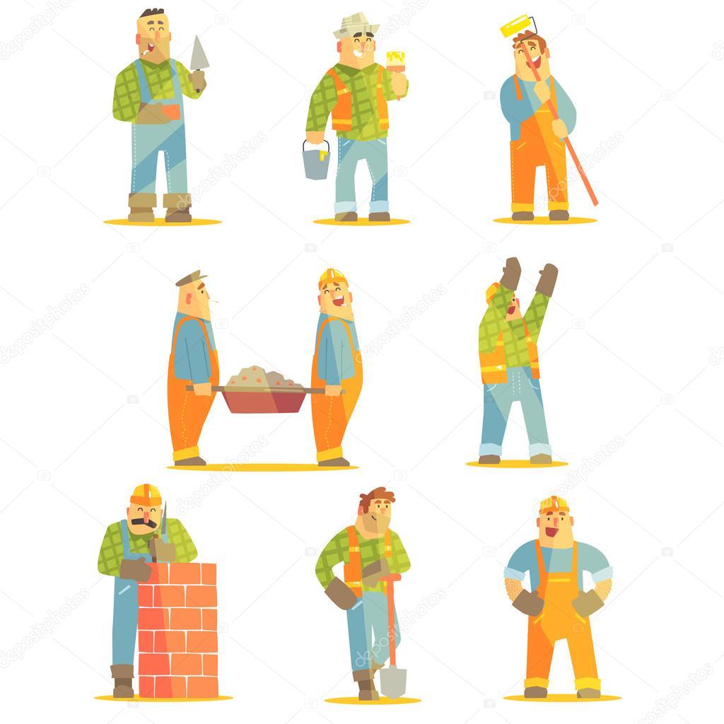 Builder Professionals At Construction Site Set
