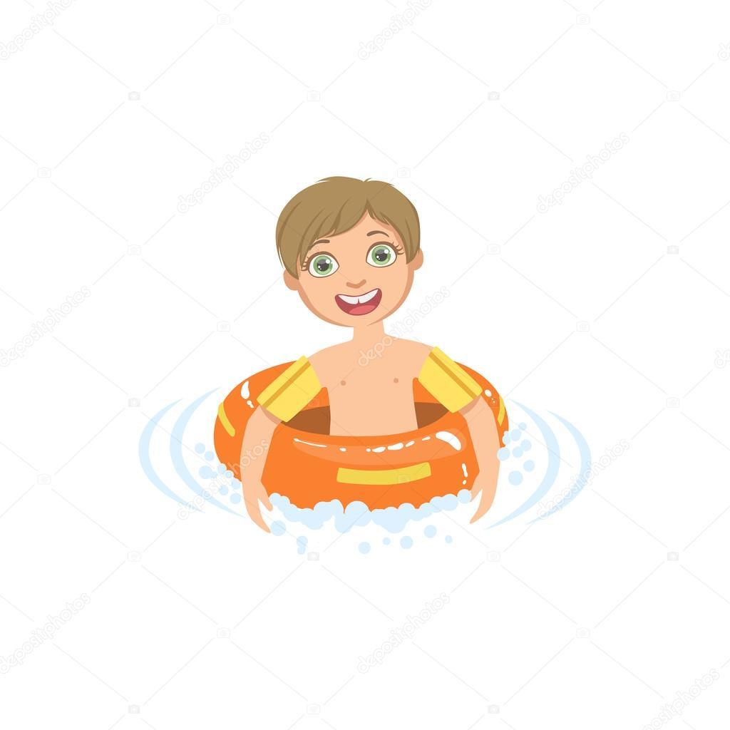 Niño en el agua con flotador redondo — Vector de stock © TopVectors ...