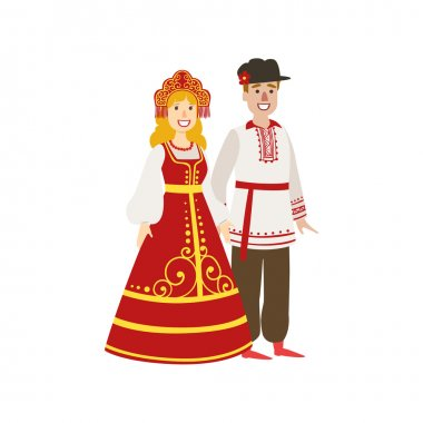Couple In Russian National Clothes