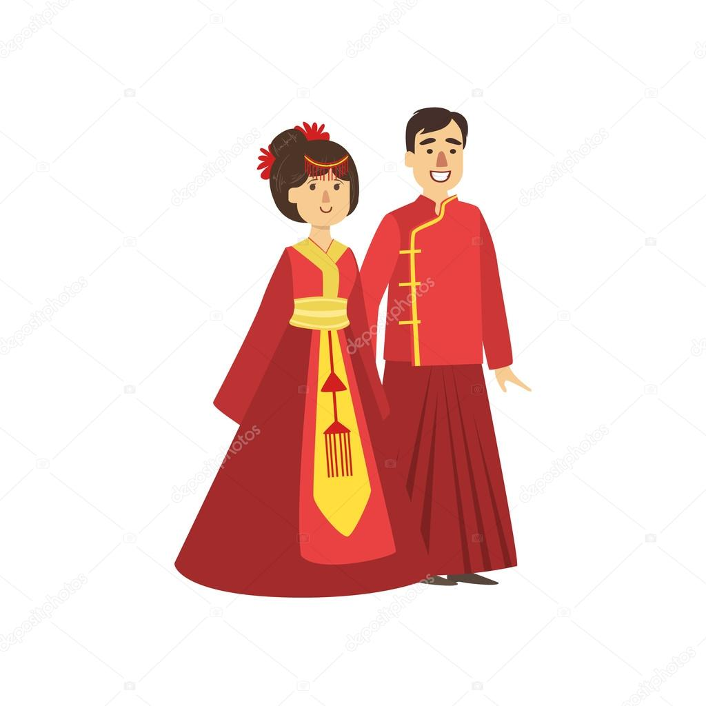 Couple In Chinese National Clothes