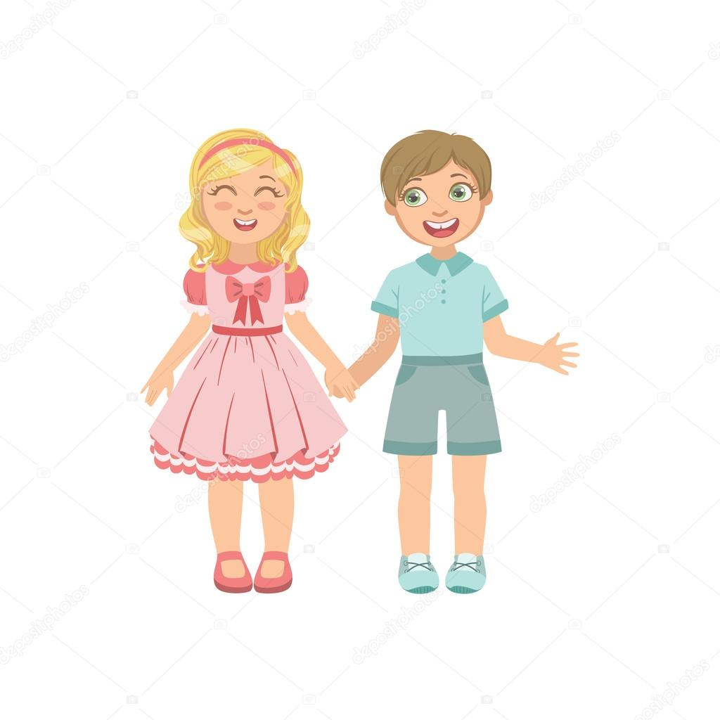 Крутые, картинка мальчик с девочкой держатся за руки