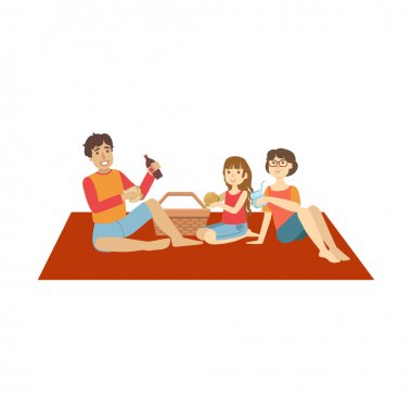 Family With Little Daughter On Picnic