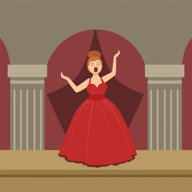 Opera Singer In Red Dress Performing On Stage