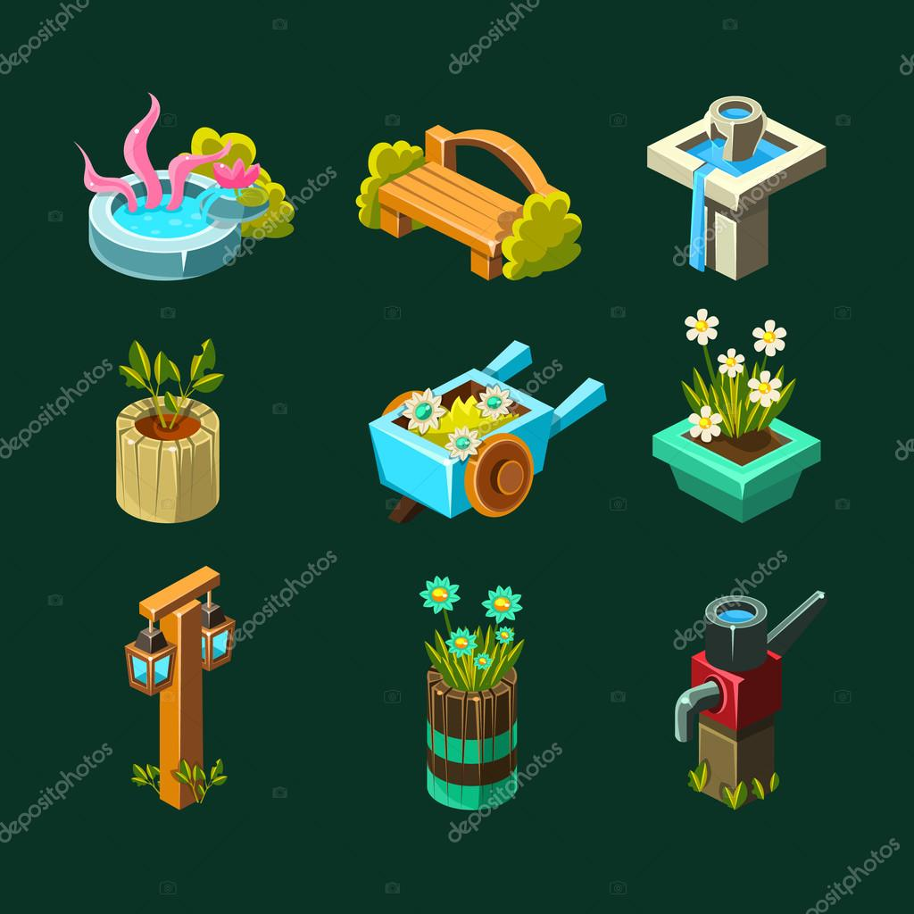 Video Game Garden Design Collection Of Elements