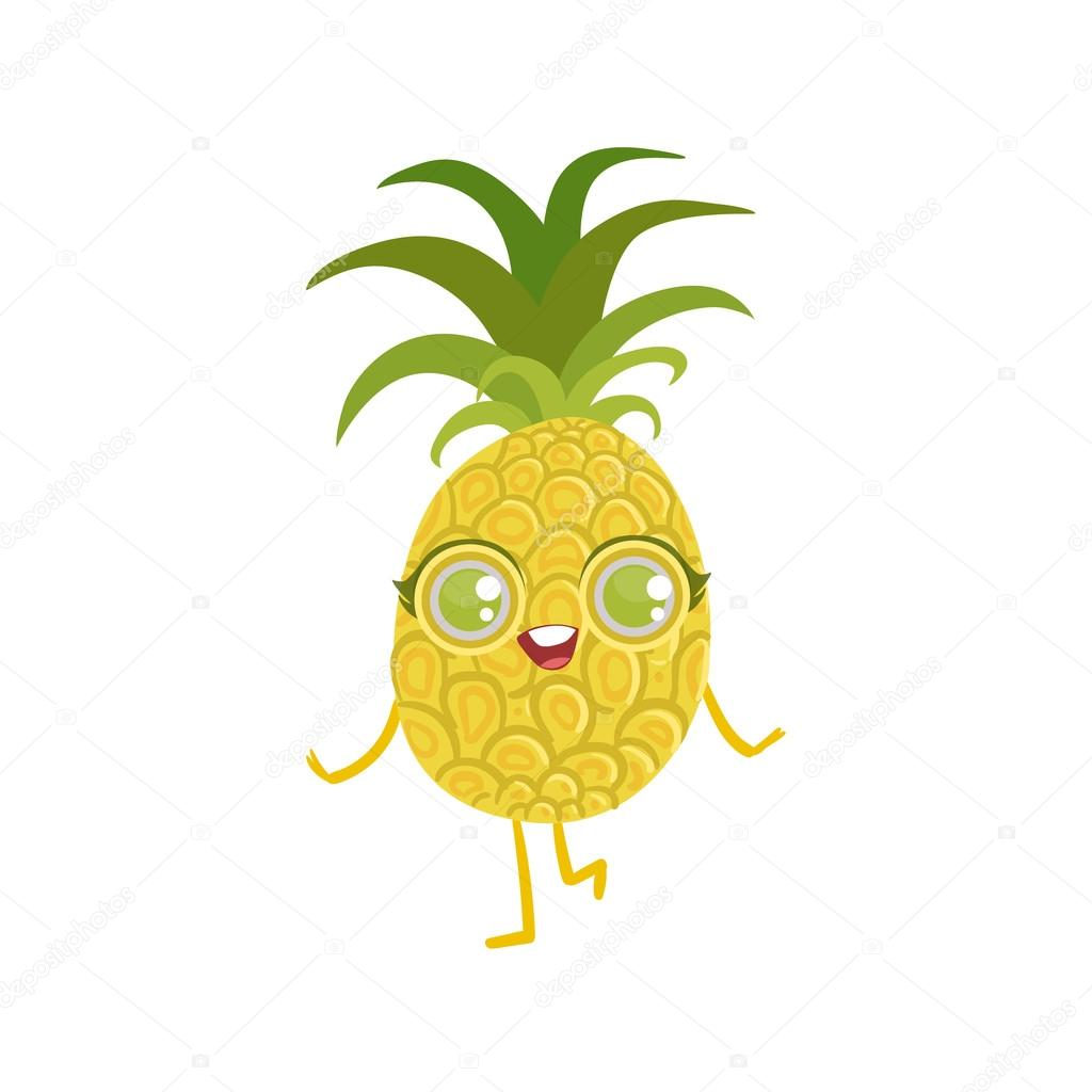Pineapple girly cartoon character stock vector - Ananas dessin ...