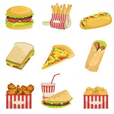 Fast Food Menu Items Realistic Detailed Illustrations