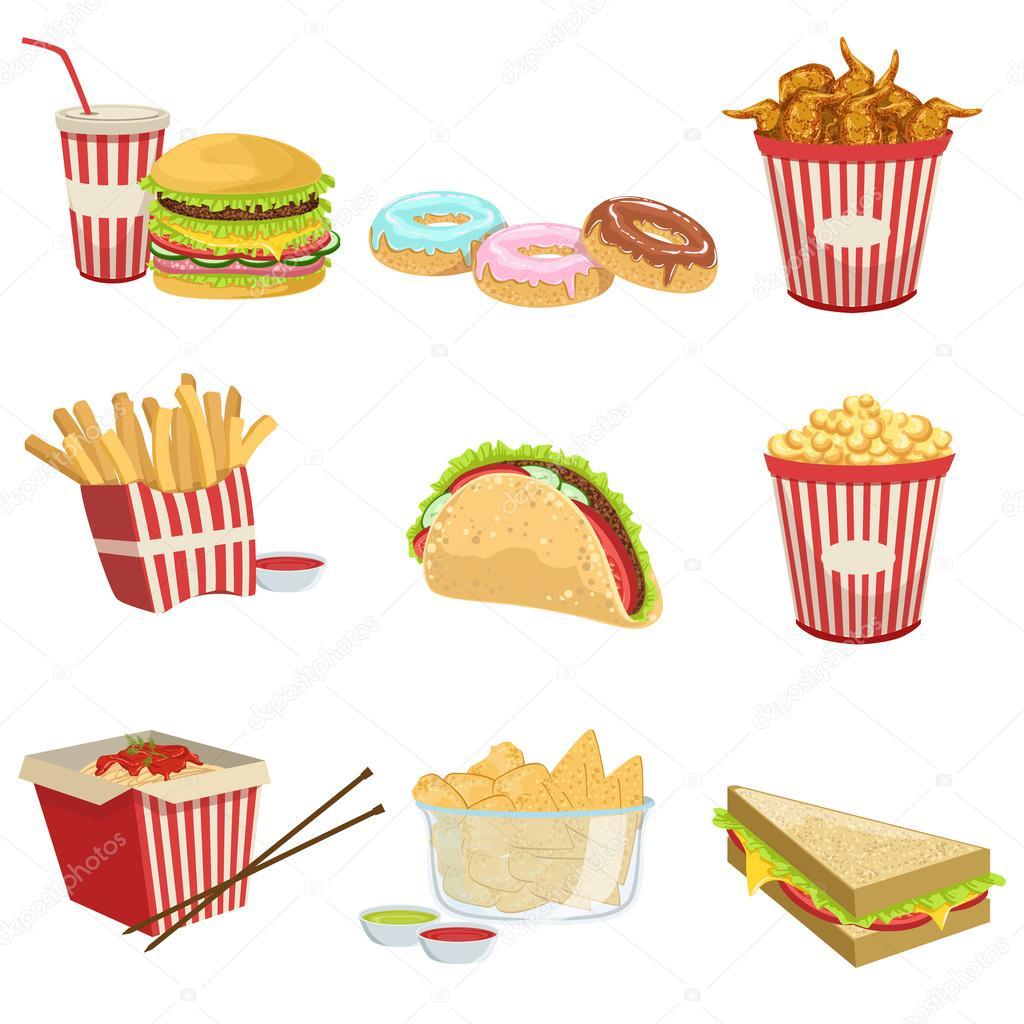 Street Food Menu Items Realistic Detailed Illustrations ...
