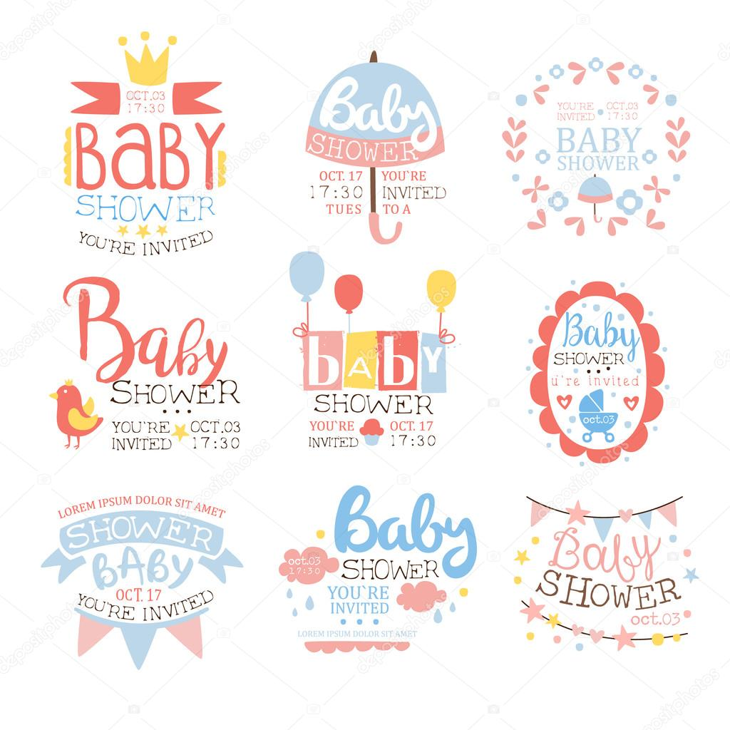 Baby Shower Invitation Template In Pastel Colors Set Of Designs ...