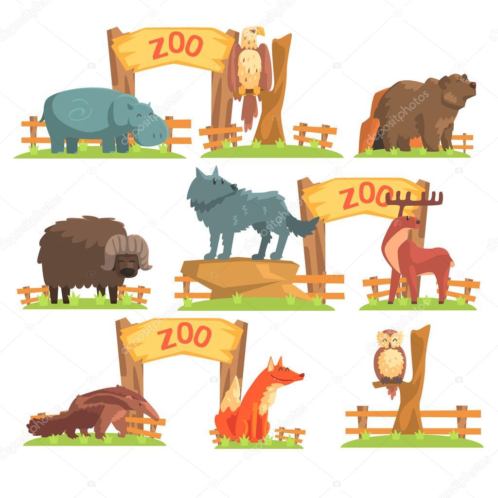 wild animals behind the fence in zoo set ストックベクター