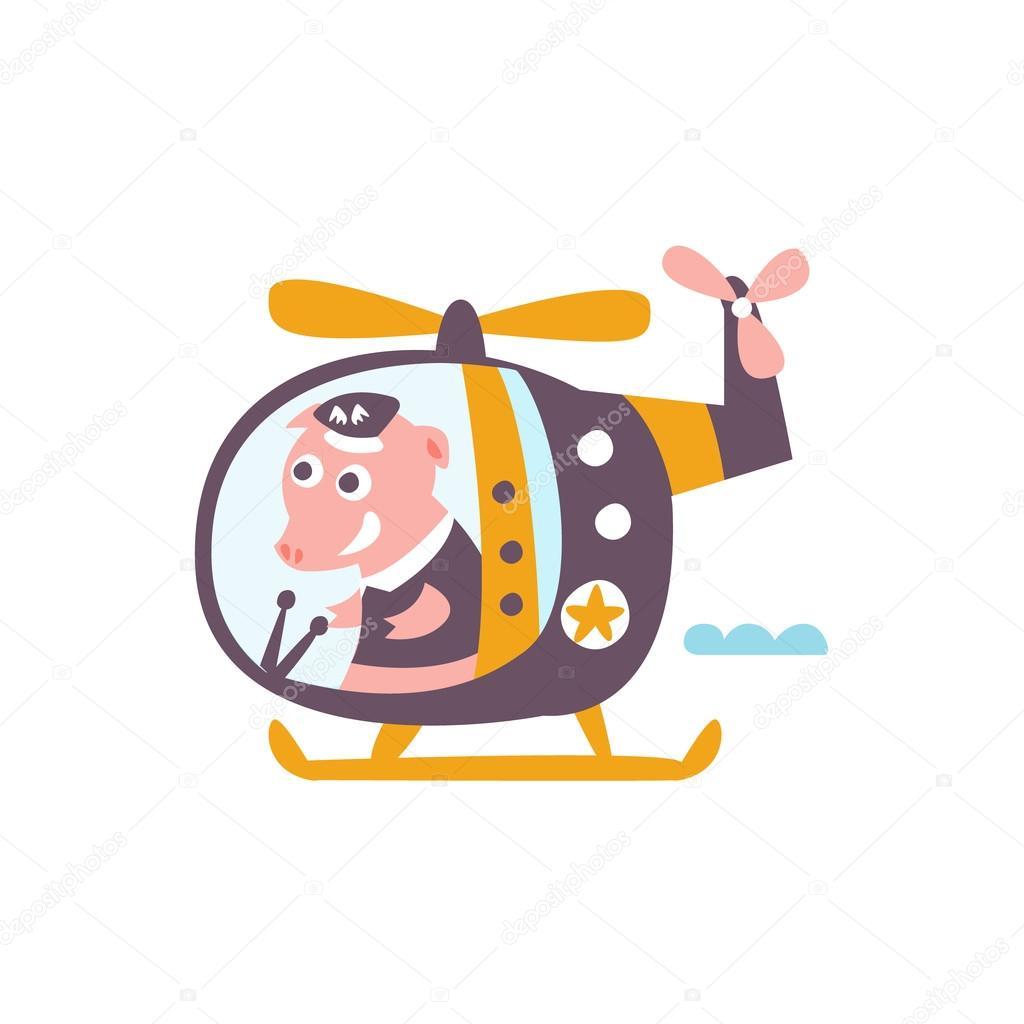 Elicottero Stilizzato : Maiale guidando un elicottero stilizzato illustrazione