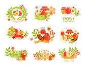 Fotografie Rosh Hashanah Bright Postcard Labels Set