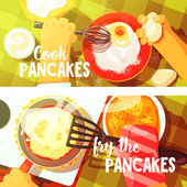 Pancakes Cooking Two Bright Color Illustrations.