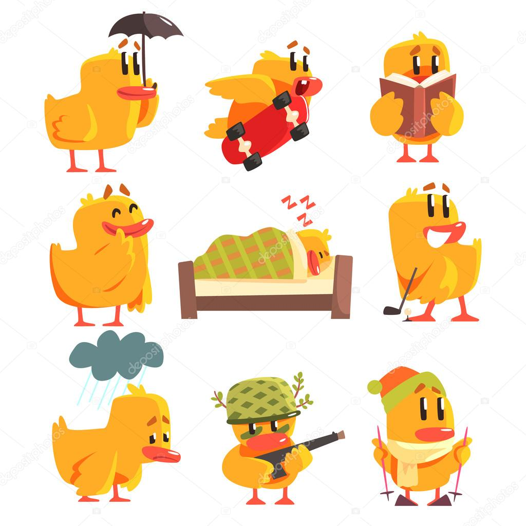 Duckling Different Activities Set Of Cute Character Stickers
