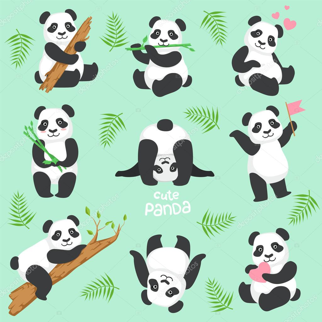 Cute Panda Character In Different Situations Set
