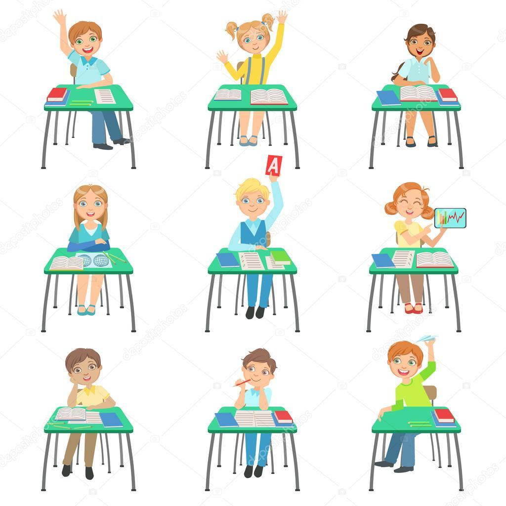 Flexible Table Ni 241 Os Sentados En Pupitres De Clase Vector De Stock