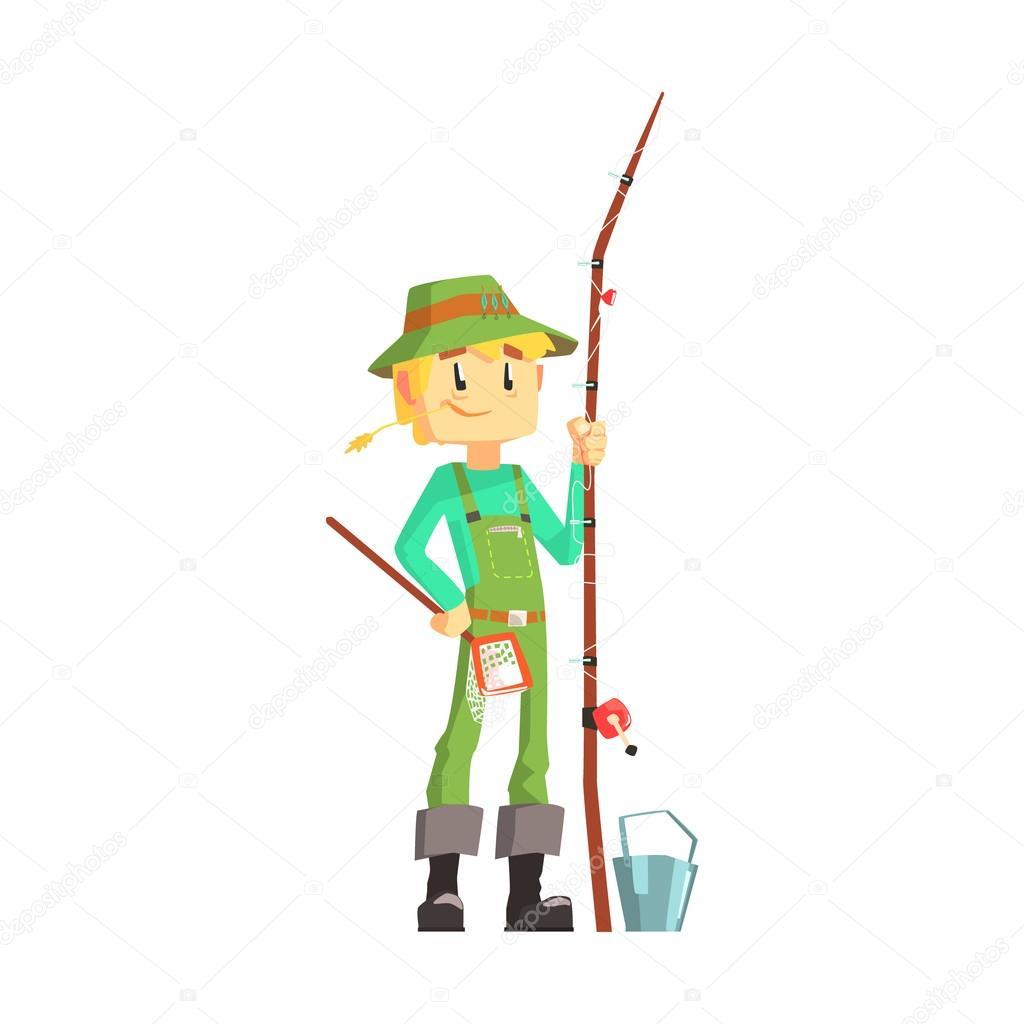 Pescatore con la canna da pesca in piedi e sorridente for Planimetrie da 4000 piedi quadrati