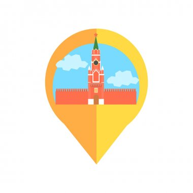 On-line Map Marker With Moscow Kremlin