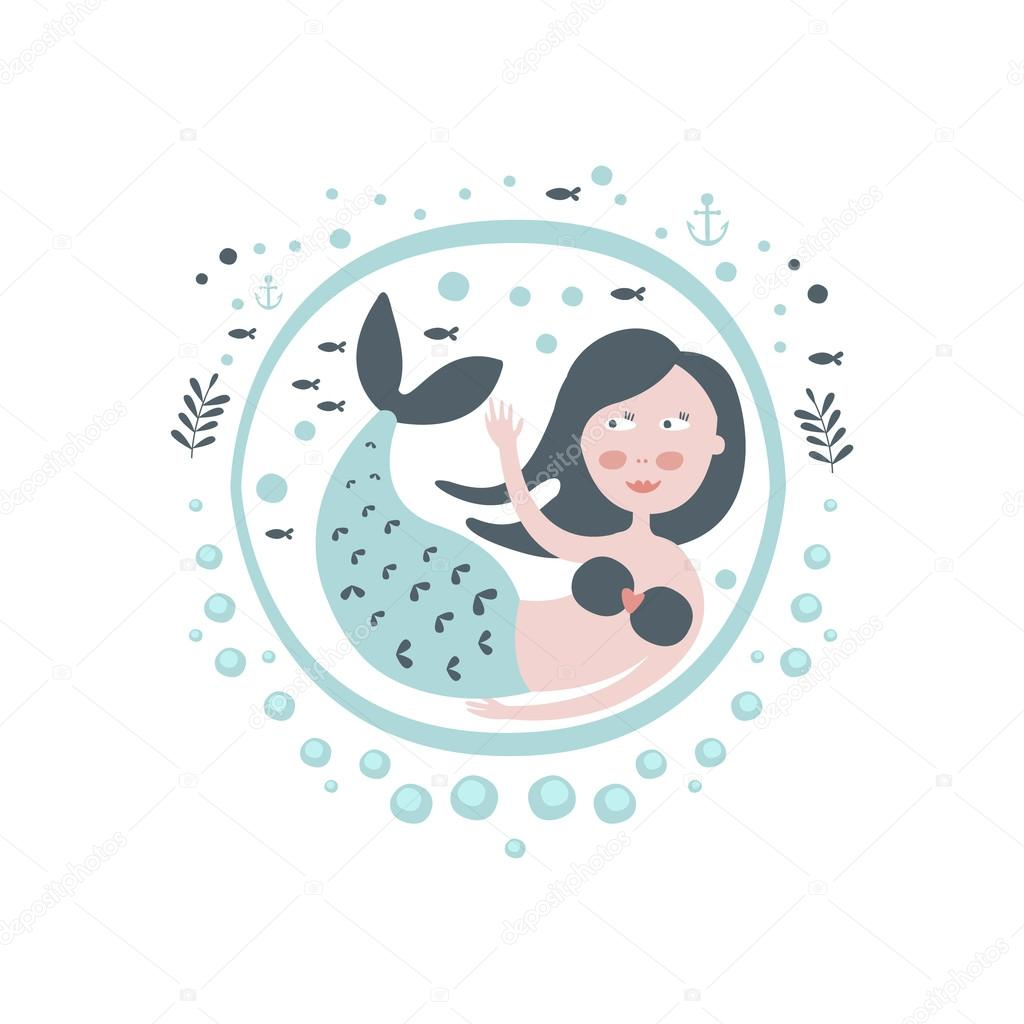 Mermaid Fairy Tale Character Girly Sticker In Round Frame