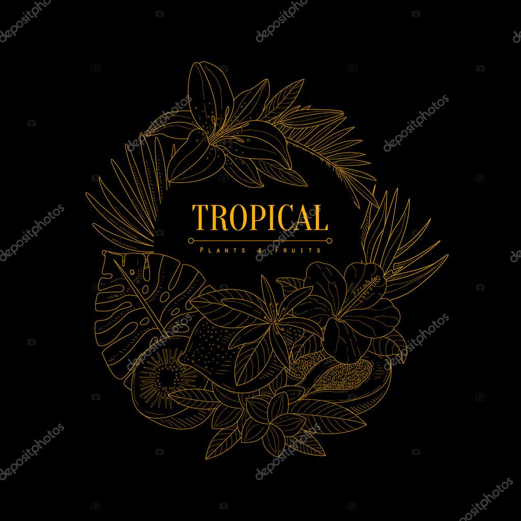 Topical Fruits And Plants Dark Logo Hand Drawn Realistic Sketch