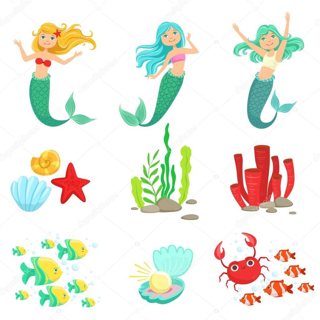 Mermaids And Underwater Nature Stickers
