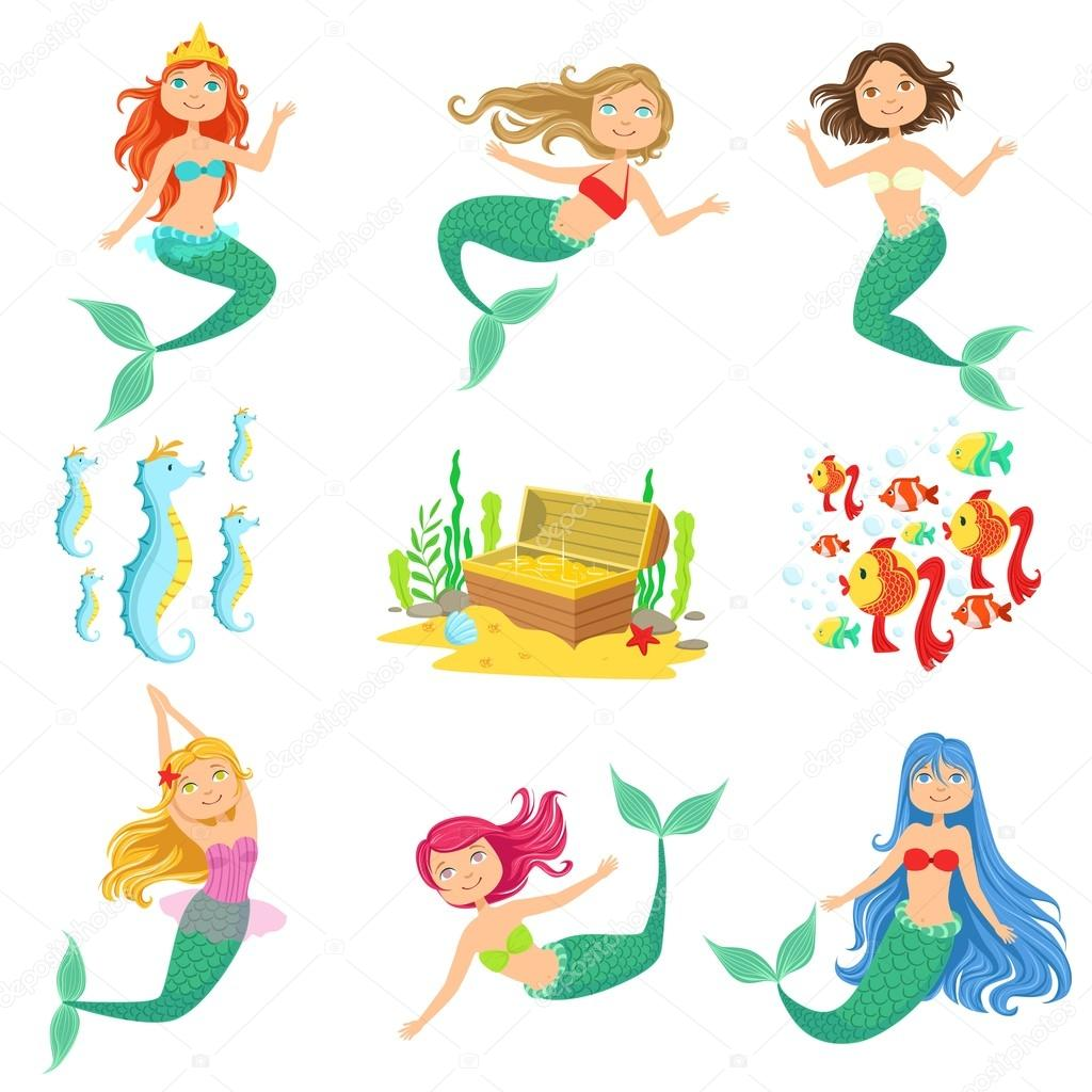 Fairy Tale Mermaids And Related Objects Set