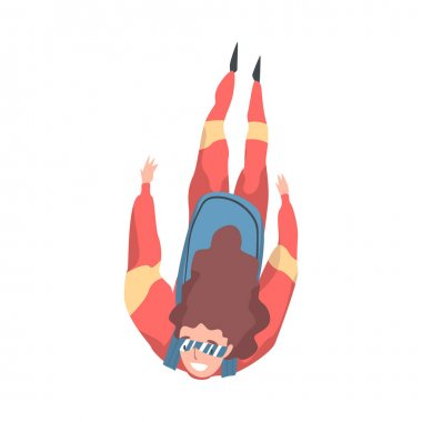 Girl Skydiver Doing Base Jump, Person Jumping with Parachute in Sky, Skydiving Parachuting Extreme Sport Cartoon Style Vector Illustration
