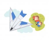 Táta a syn spouští letecký model, Pohled z výšky milující muž a chlapec tráví čas společně venku, Letecké modelování Cartoon Style Vector Illustration