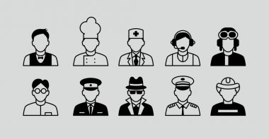 Set Flat Icons with Man of Different Professions. Builder, nurse, doctor, manager, hostess, waiter, scientist, teacher, police officer