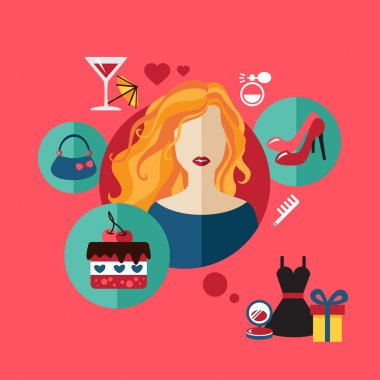 Woman shopping flat icon. Vector set infographic