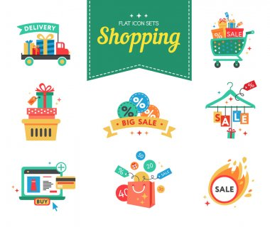 Concept icons for beauty and shopping