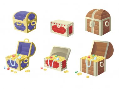 vector illustration of treasure chest full of gold coins and gems