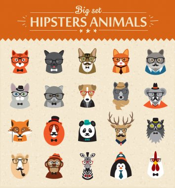 Cute fashion Hipster Animals  of vector icons