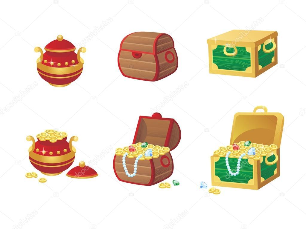 Ilustración de vector de cofre del tesoro lleno de joyas y monedas ...