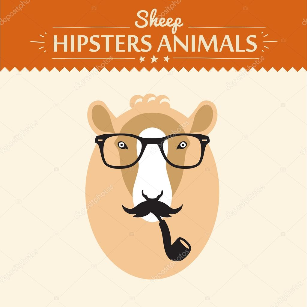 vector happy new year card with hipster sheep on scrap booking card with glasses
