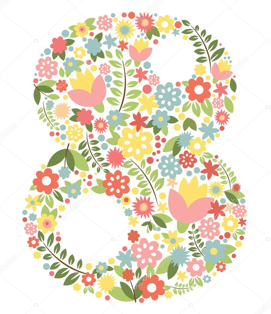 The international womens day on March, 8th greeting background with number 8