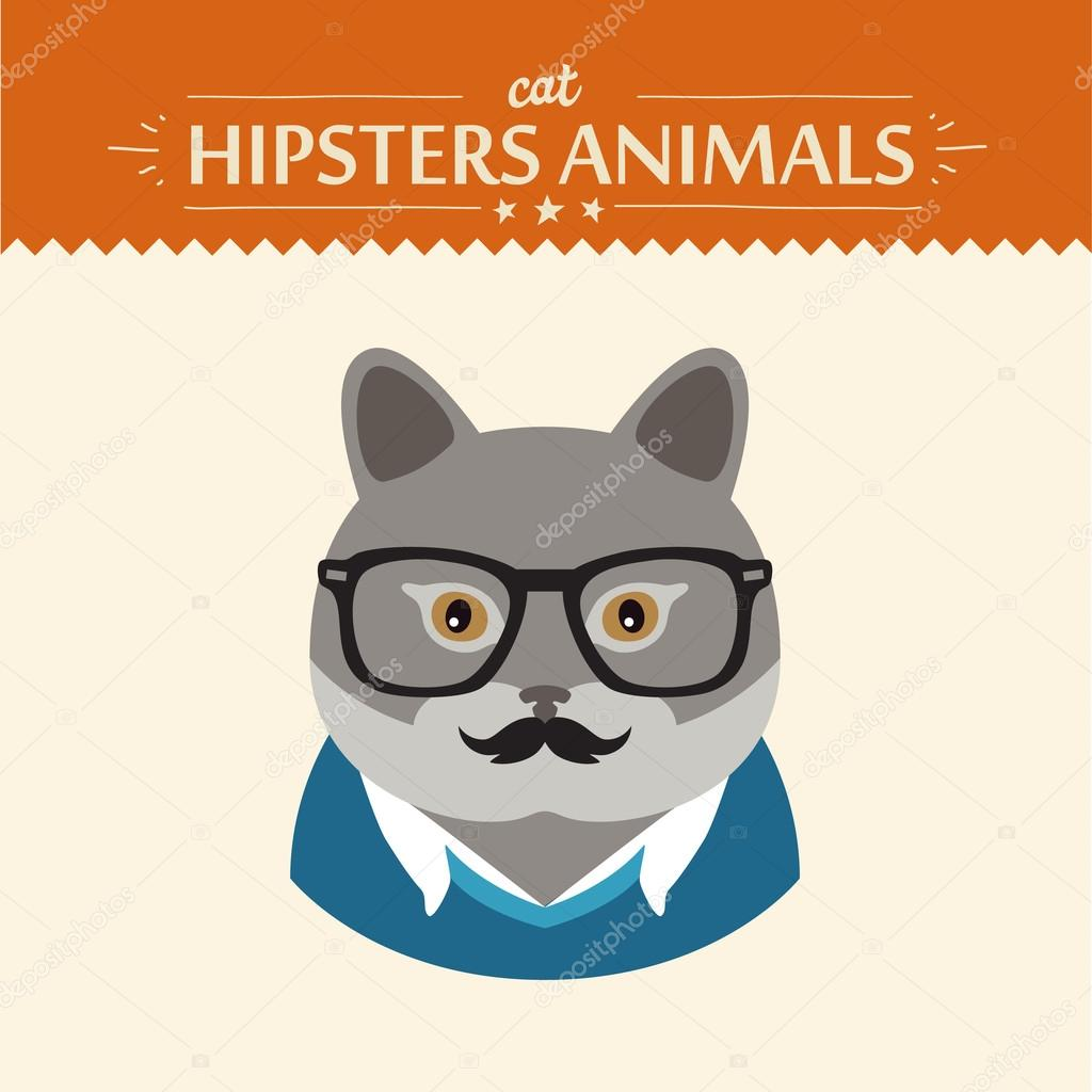 3dfba7ca682e Fashion Portrait of Hipster Cat with glasses and bow — Stock Vector ...