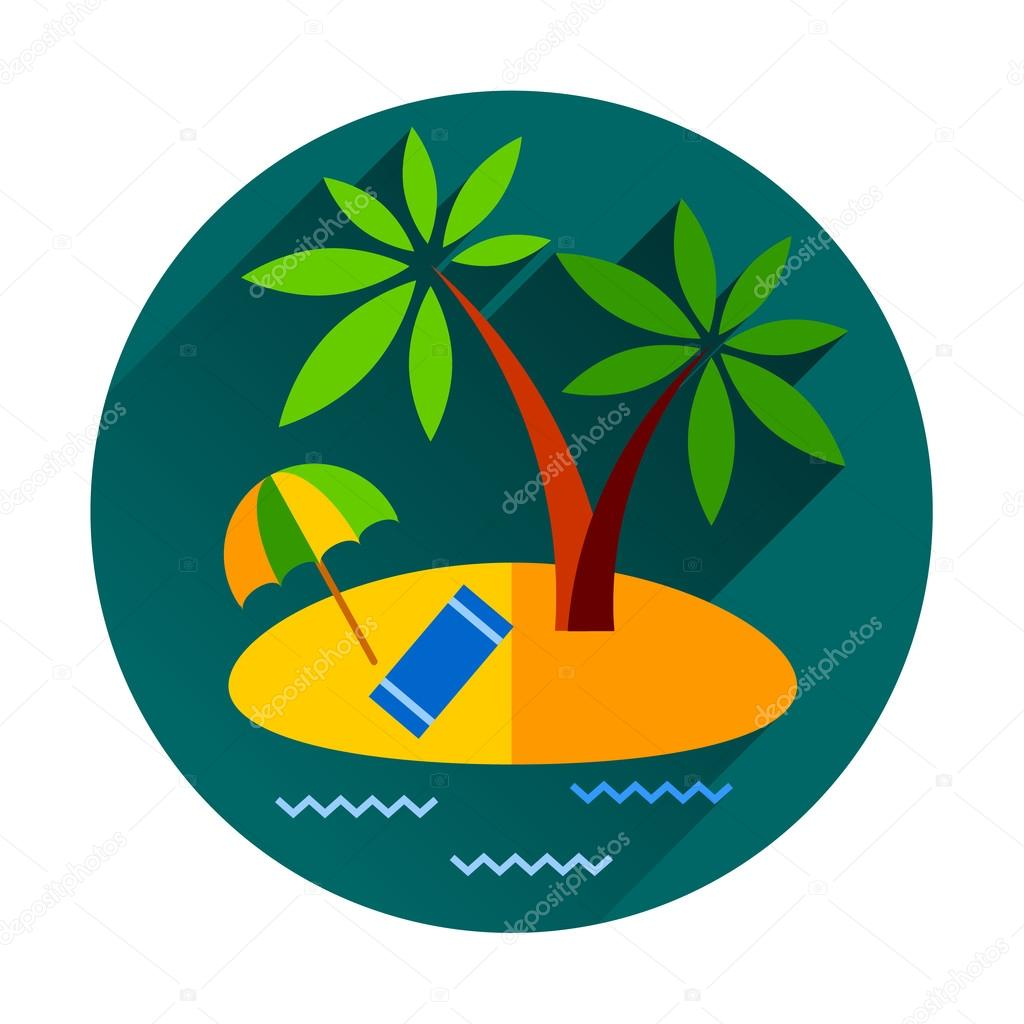 summer vacation holiday tropical ocean island with palm tree flat vector illustration