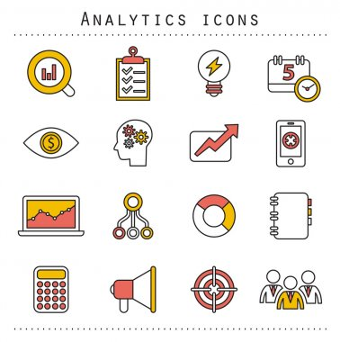 Flat line icons set of small business planning development, startup key elements, strategy solution, market research, brand identity and company vision. Modern design style vector illustration
