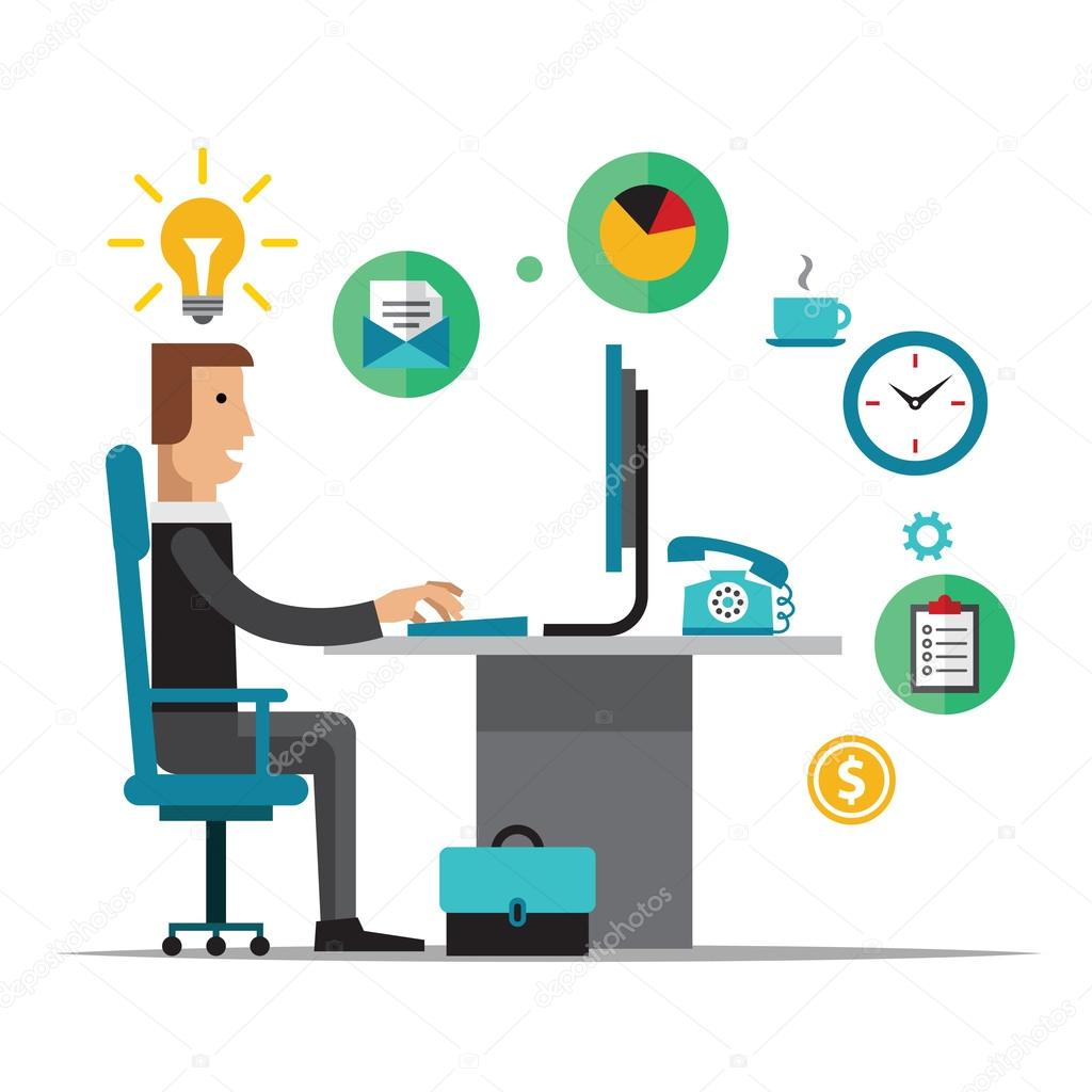 Flat design vector illustration of office workplace ...