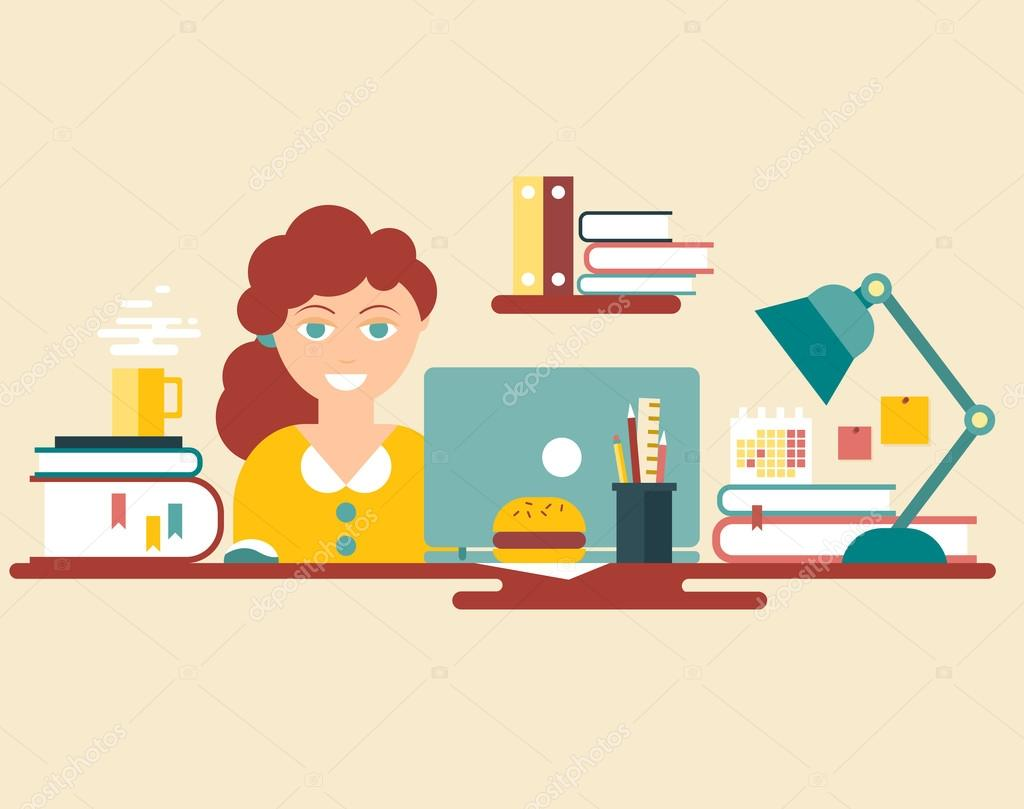 Flat Style Design Vector Illustration Work Place Home