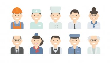 Set Icons with Man of Different Professions