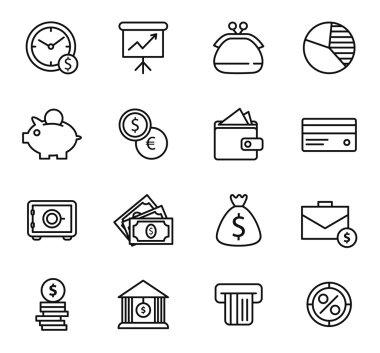 Finance and bank Icon Set.