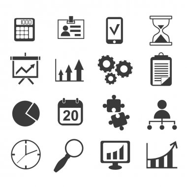 Business analyst marketing icon set