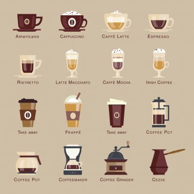 Coffee  icon set menu.