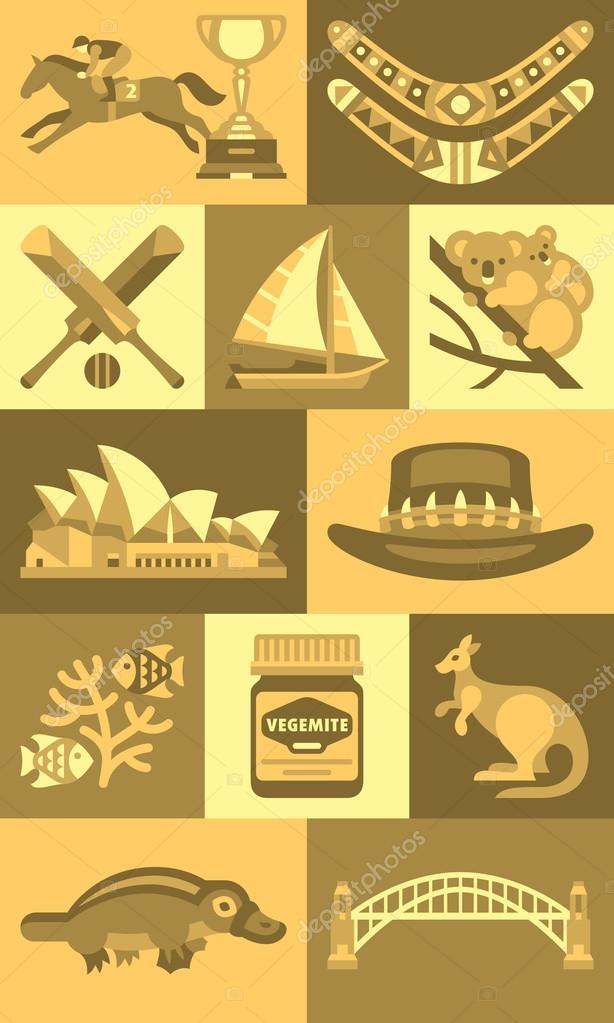 Australian Icons And Symbols Stock Vector Topvectors 72756321