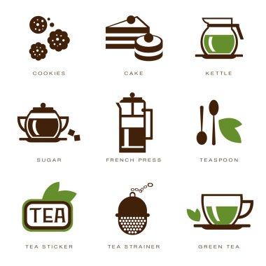 set of icons on a tea theme