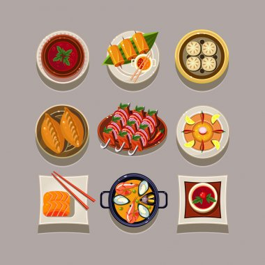 Set of food products