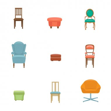 Vector furniture icon set. Chairs stock vector