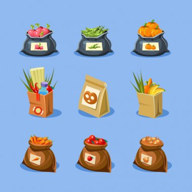 shopping paper bags with food